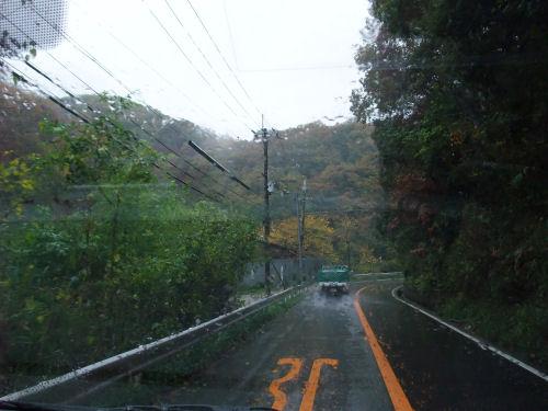 磐船街道・雨・紅葉